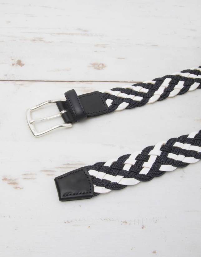 Cinturón trenza algodón/piel