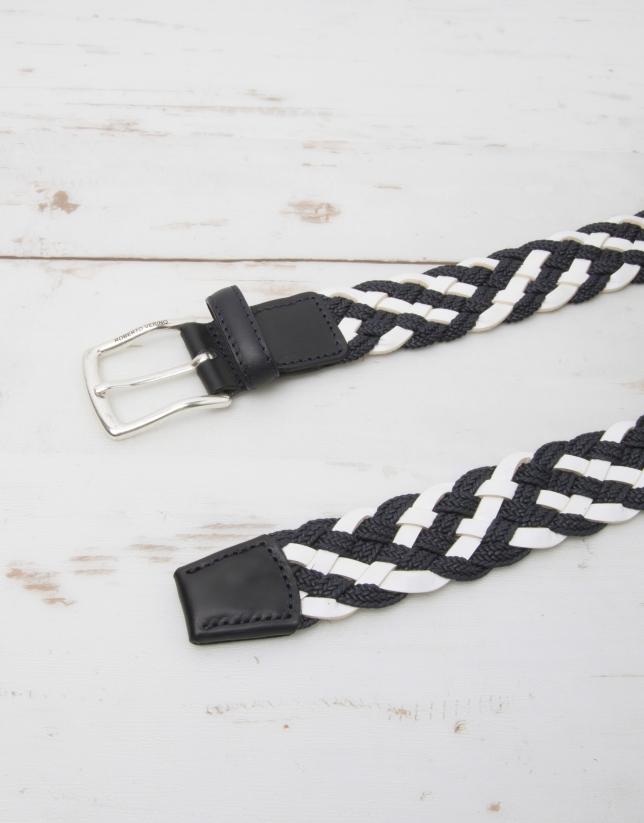 Cotton/leather braided belt