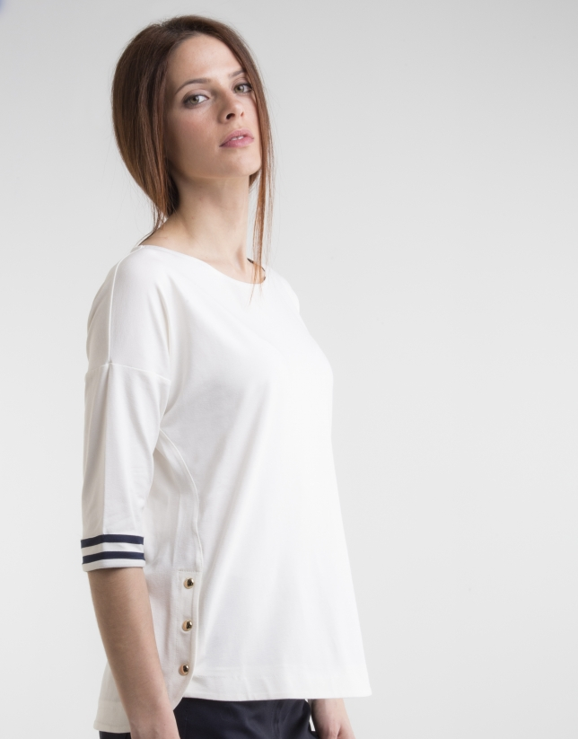 T-shirt col bateau blanc