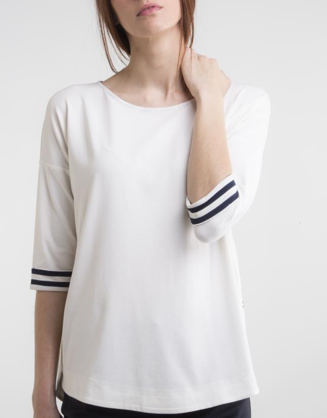 Camiseta cuello barco blanco