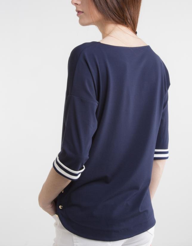 T-shirt col bateau bleu