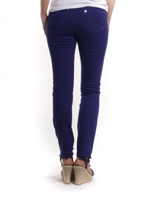 Pantalon 6 poches coton-élasthanne