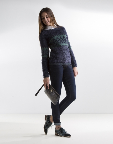 Blue and green print sweater