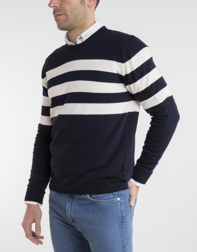 Jersey rayas marino/crudo