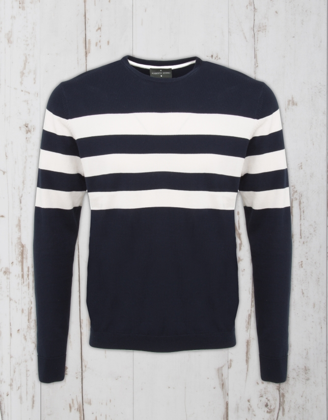 Navy blue / ivory striped sweater