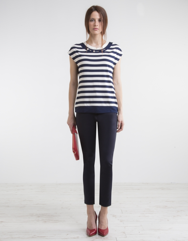 Blue striped knit top