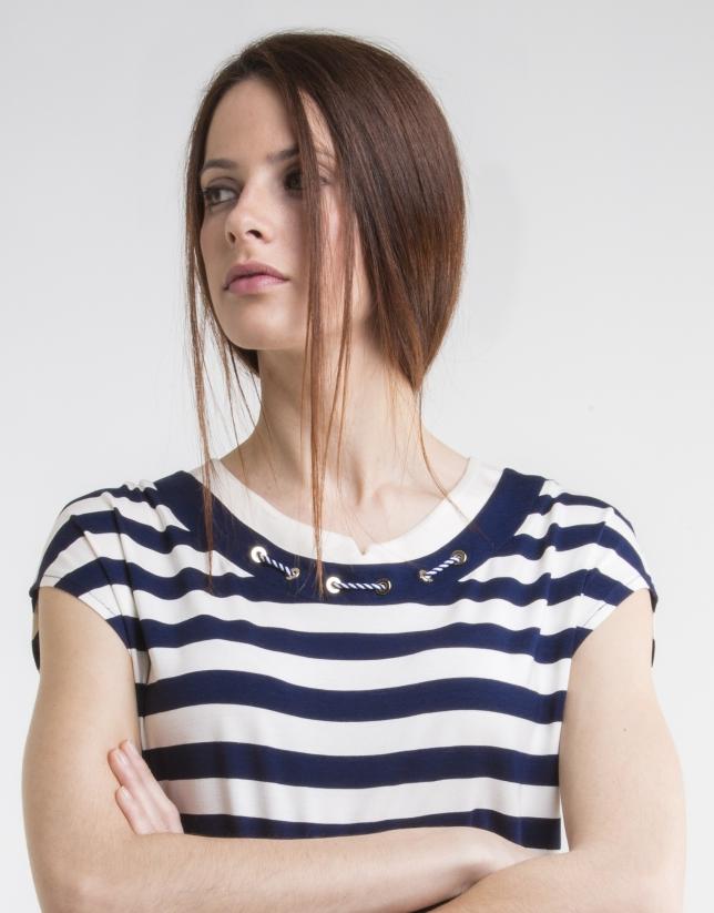 T-shirt en maille, bleu à rayures