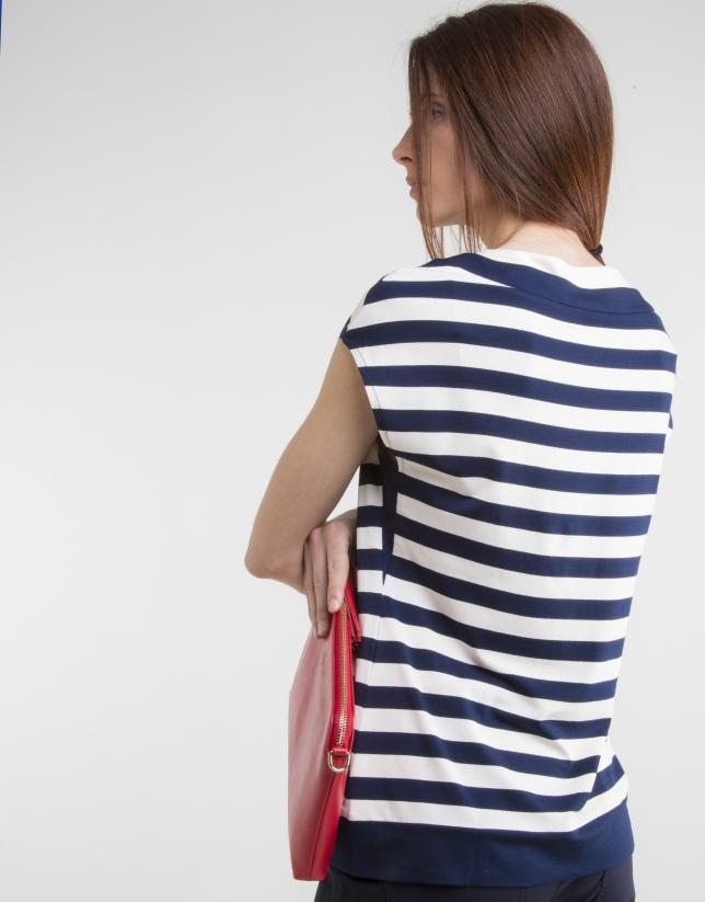 Camiseta punto rayas azul
