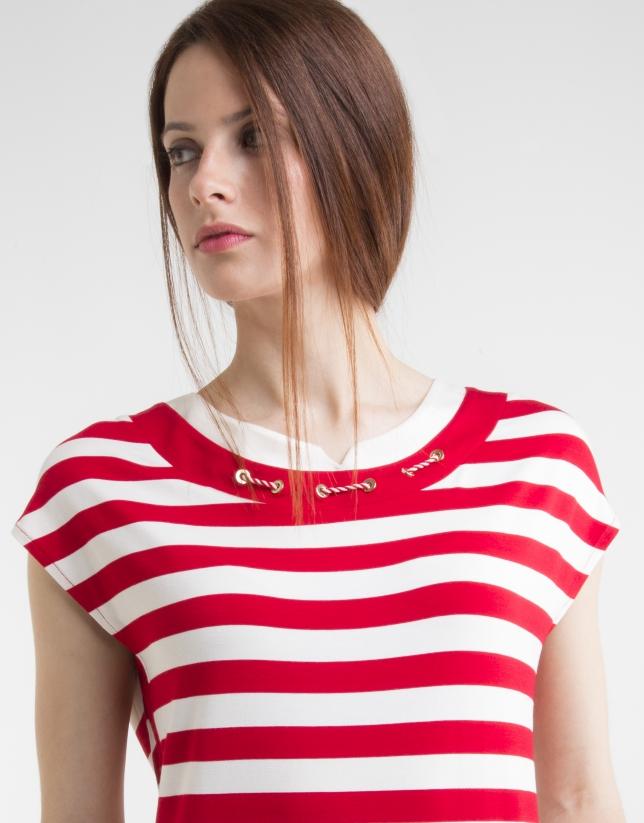 Camiseta punto rayas rojas
