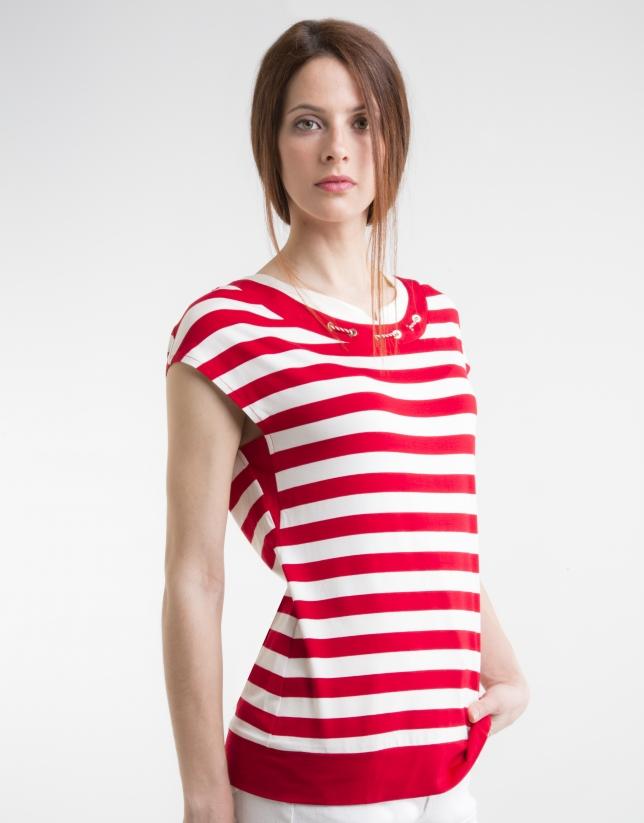 T-shirt en maille, rouge à rayures