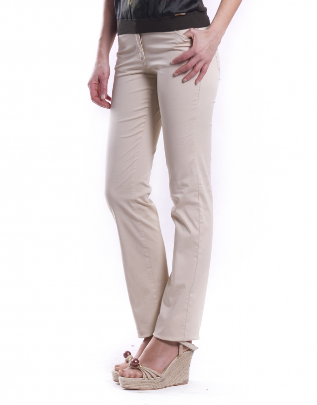 Stretch pants with 5 pockets