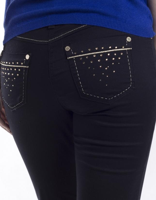 Pantalón 5 bolsillos tejido elástico