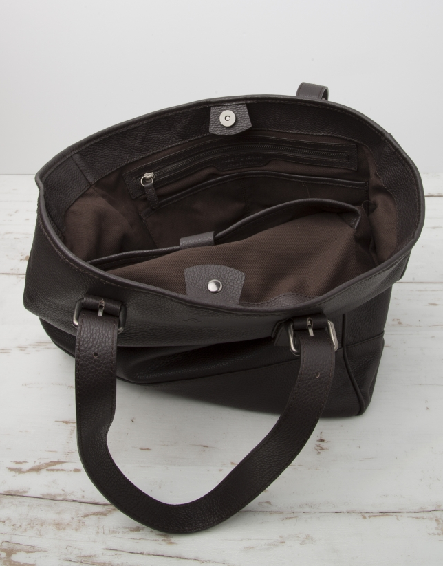 Men's brown cowhide leather bag