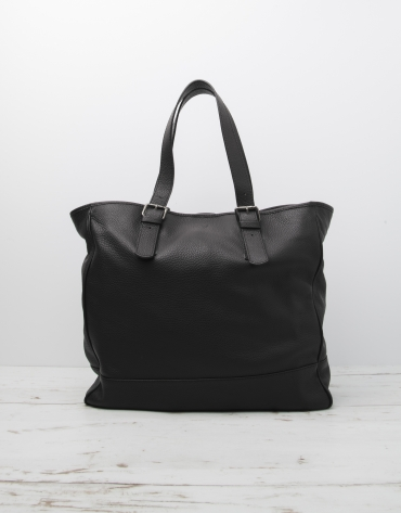 Men's black cowhide leather bag