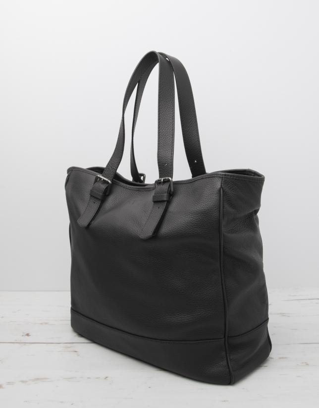 Men's black cowhide leather bag