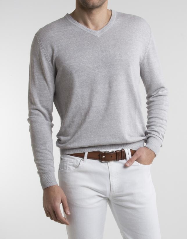 Gray linen sweater