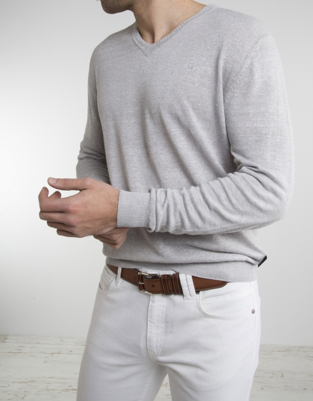 Gray linen sweater