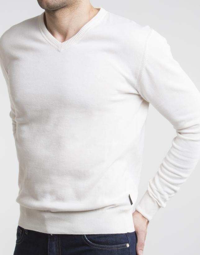 Jersey cuello pico beige