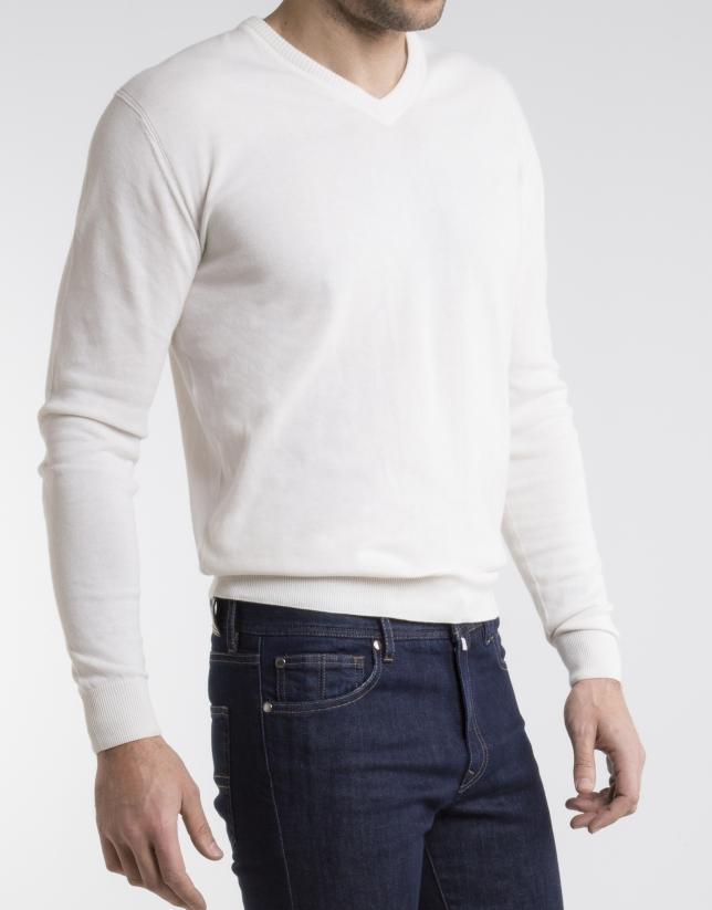 Beige V-neck sweater
