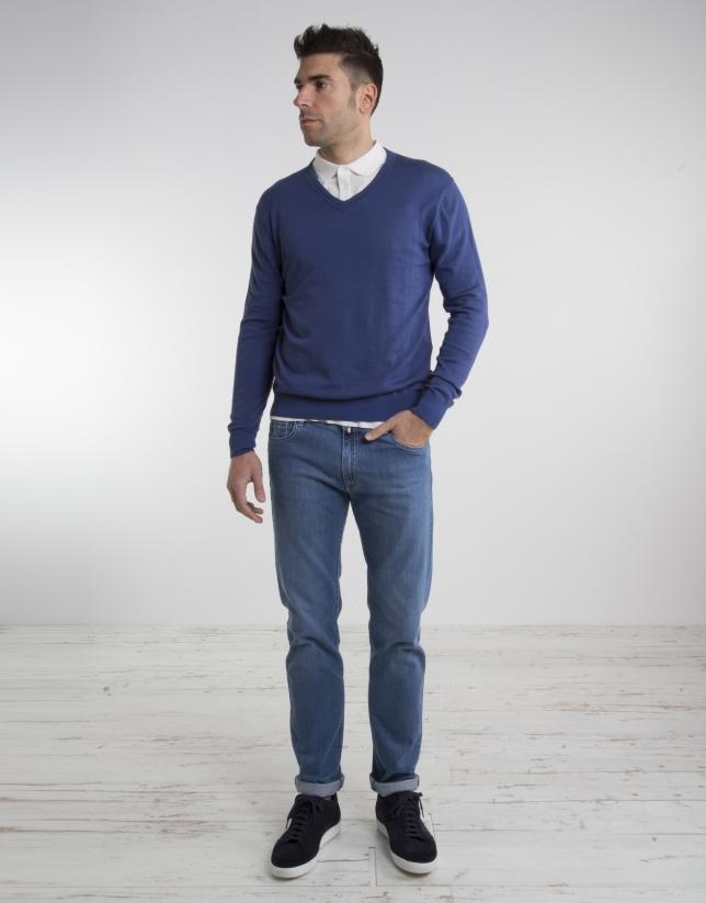 Blue V-neck sweater
