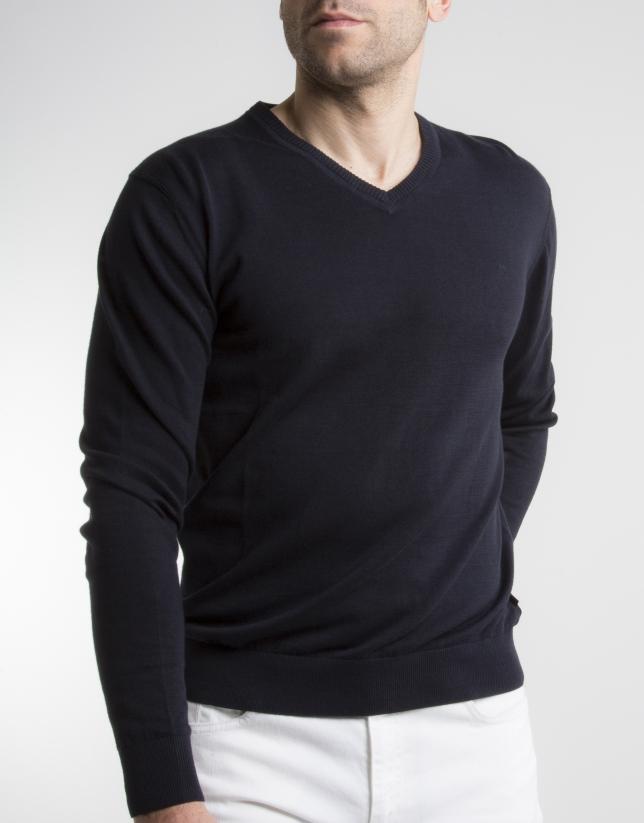 Jersey cuello pico marino