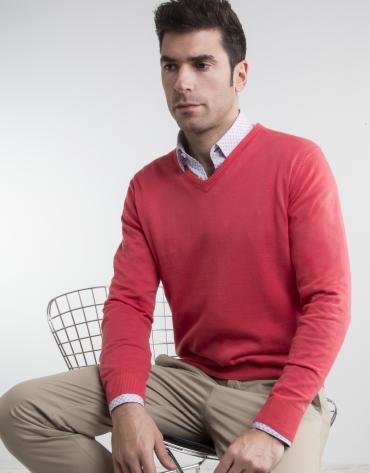 Coral V-neck sweater