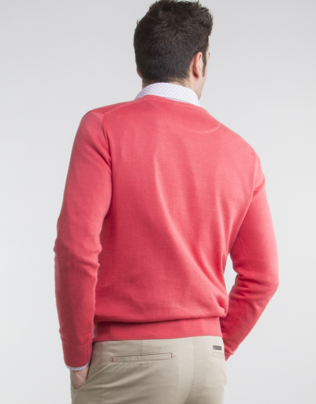 Jersey cuello pico coral