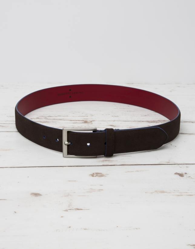 Cinturón serraje marrón