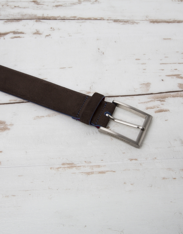Brown split leather belt