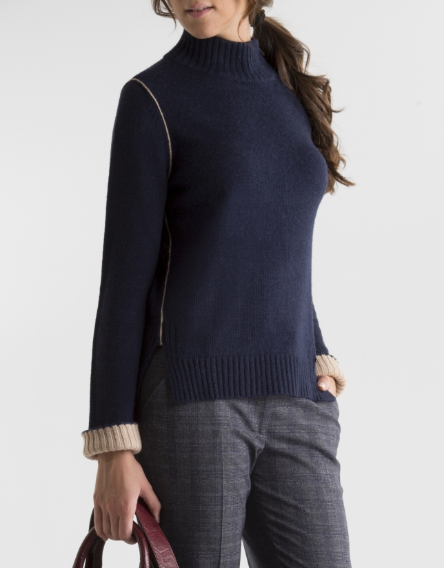 Blue sweater with zipper