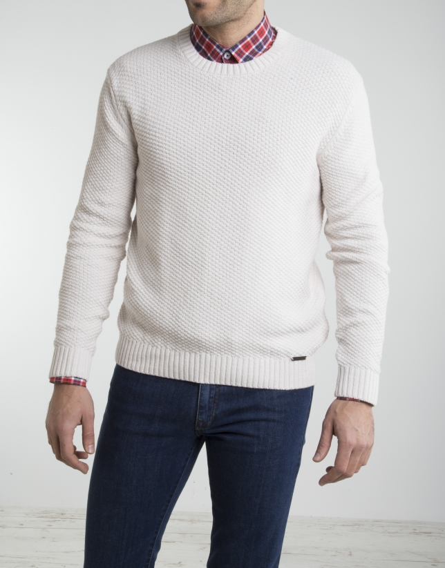 Jersey cuello caja crudo