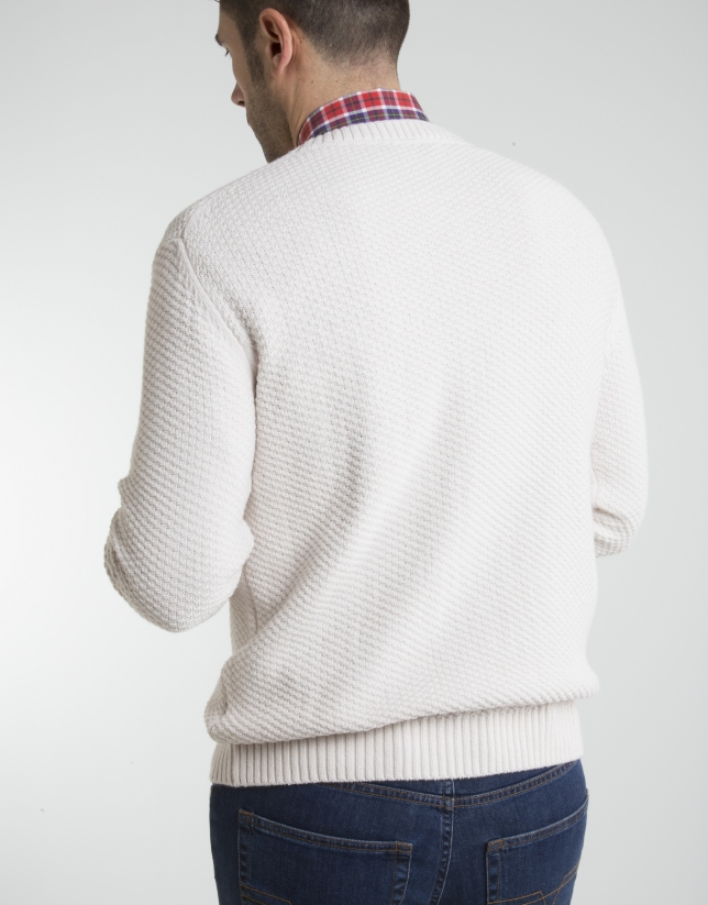 Ivory square neck sweater