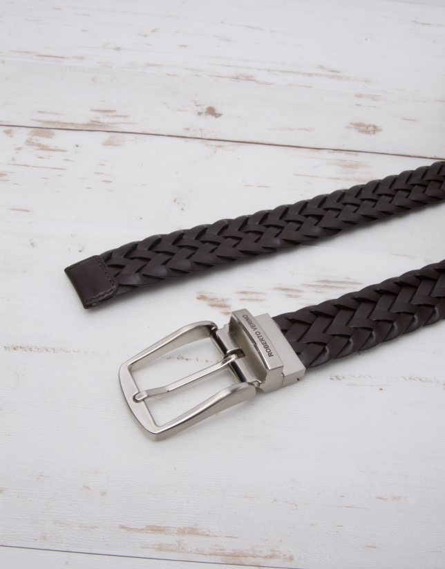 Braided leather belt
