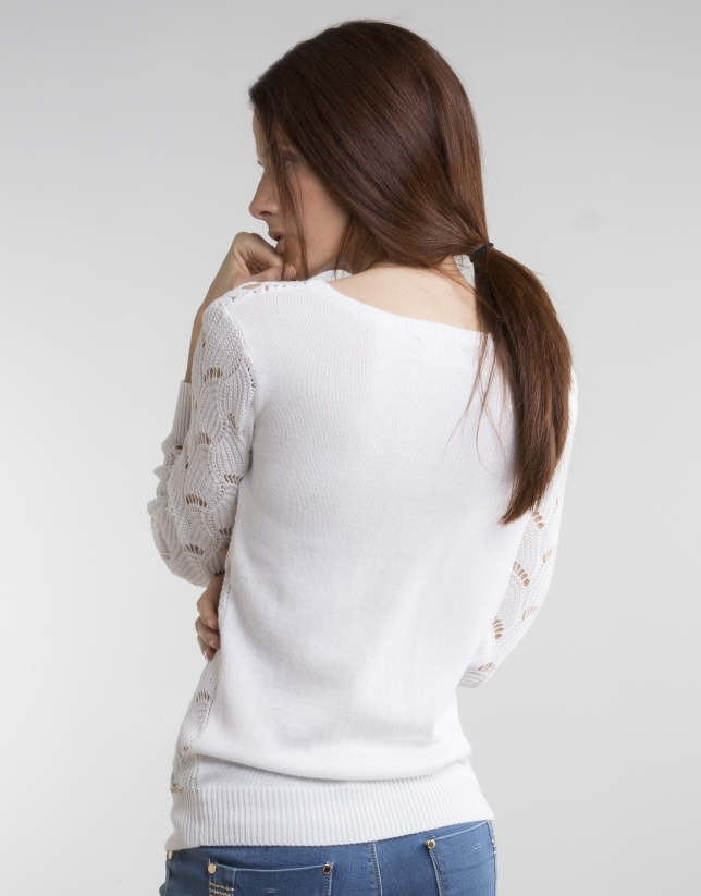 White knit openwork sweater