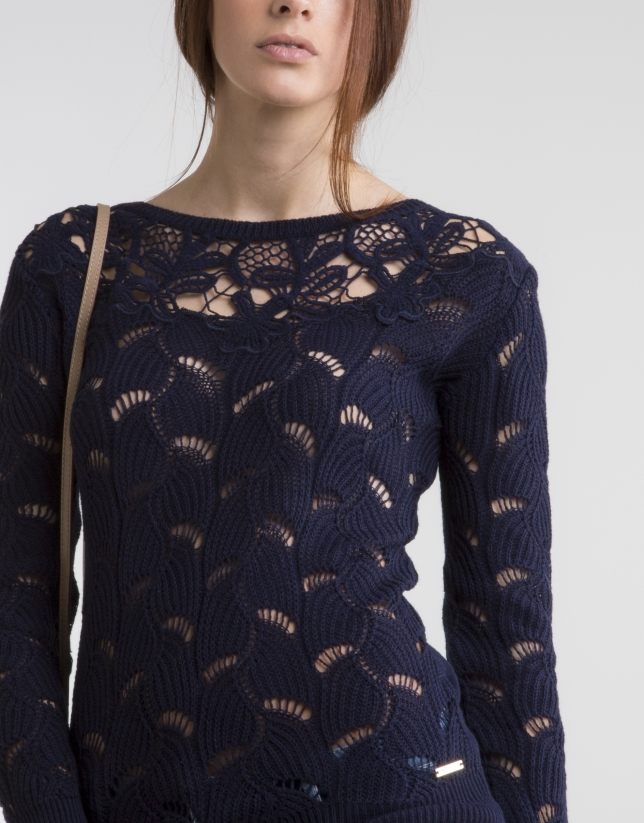 Blue knit openwork sweater