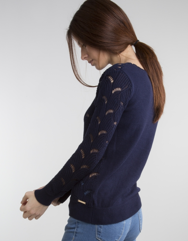 Blue knit openwork sweater