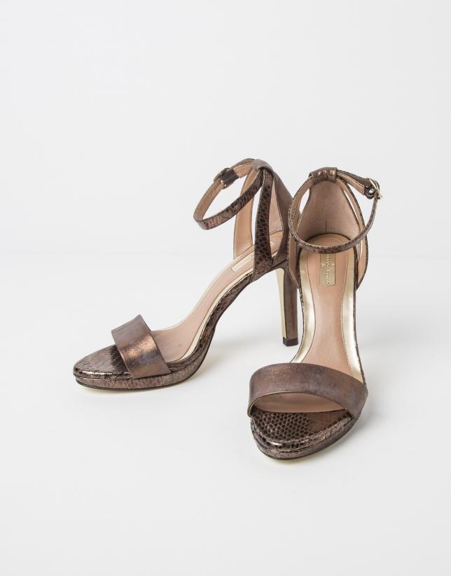 Sandale MUNICH en cuir couleur ocre