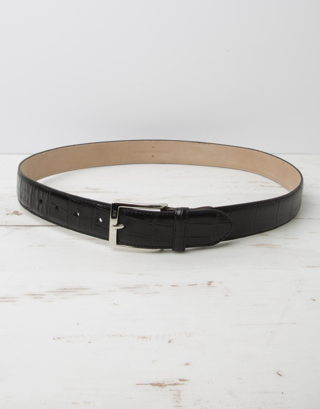 Embossed  alligator leather belt
