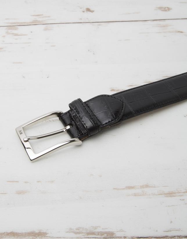 Embossed  alligator leather belt