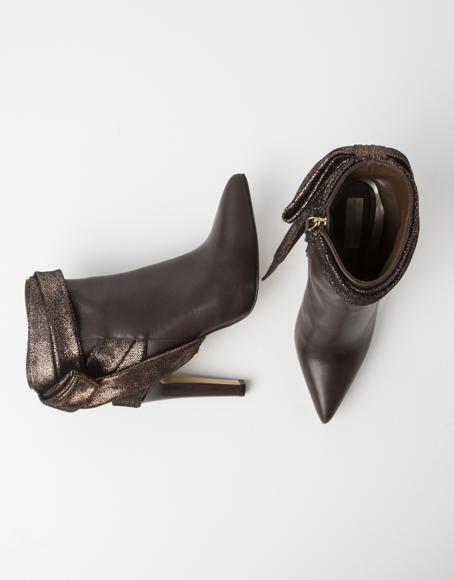 Brown leather BUDAPEST ankle boot