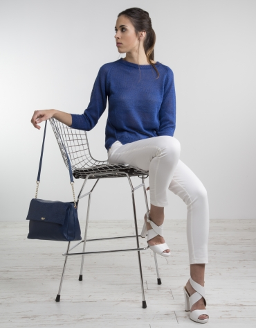 Blue knit sweater