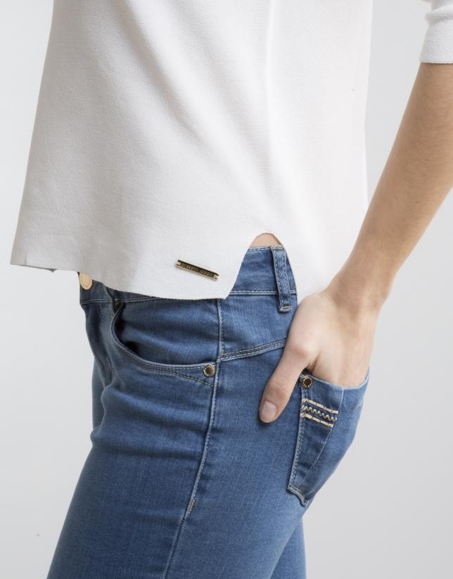 Jersey manga tres cuartos crudo