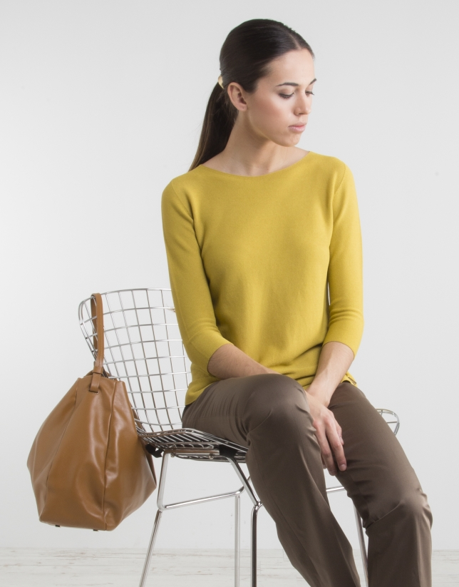 Yellow sweater with three quarter sleeves