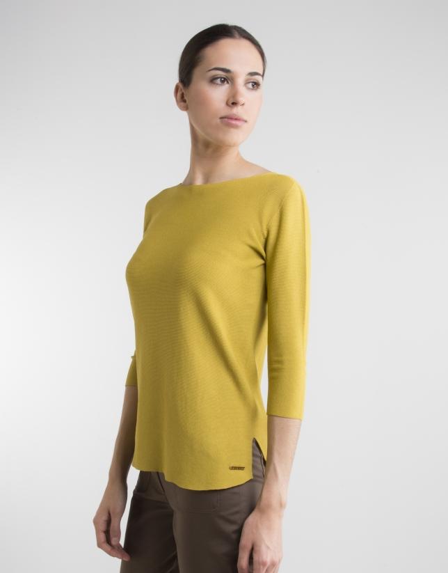 Jersey manga tres cuartos amarillo