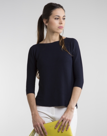 Jersey manga tres cuartos azul marino