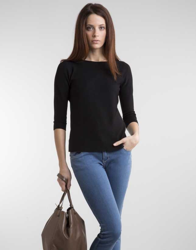 Jersey manga tres cuartos negro