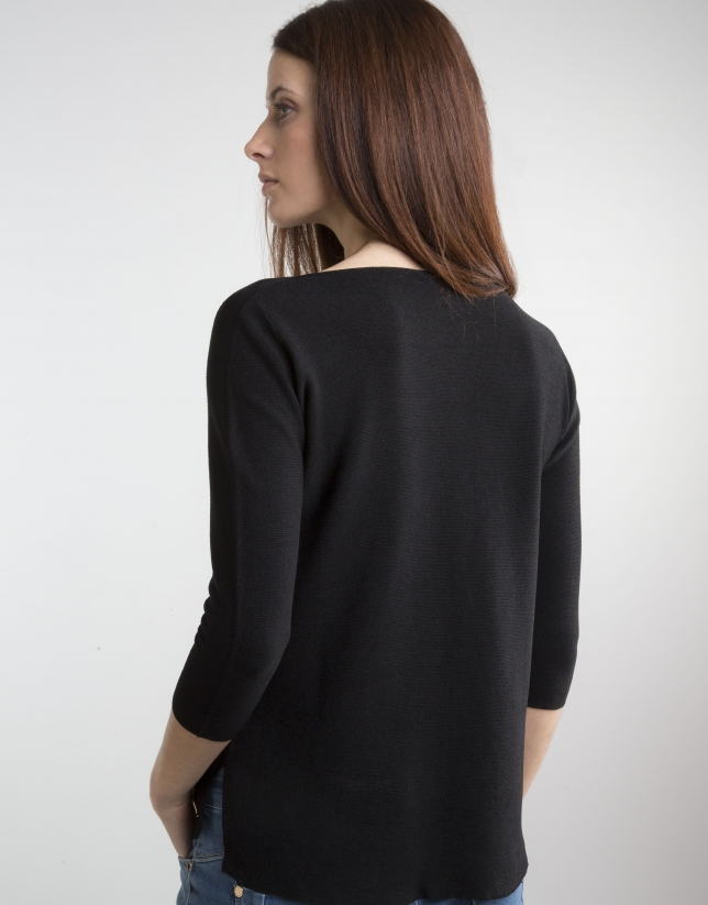 Black sweater with three quarter sleeves