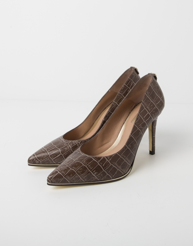 Sand - cocoanut embossed cowhide MÉXICO pump