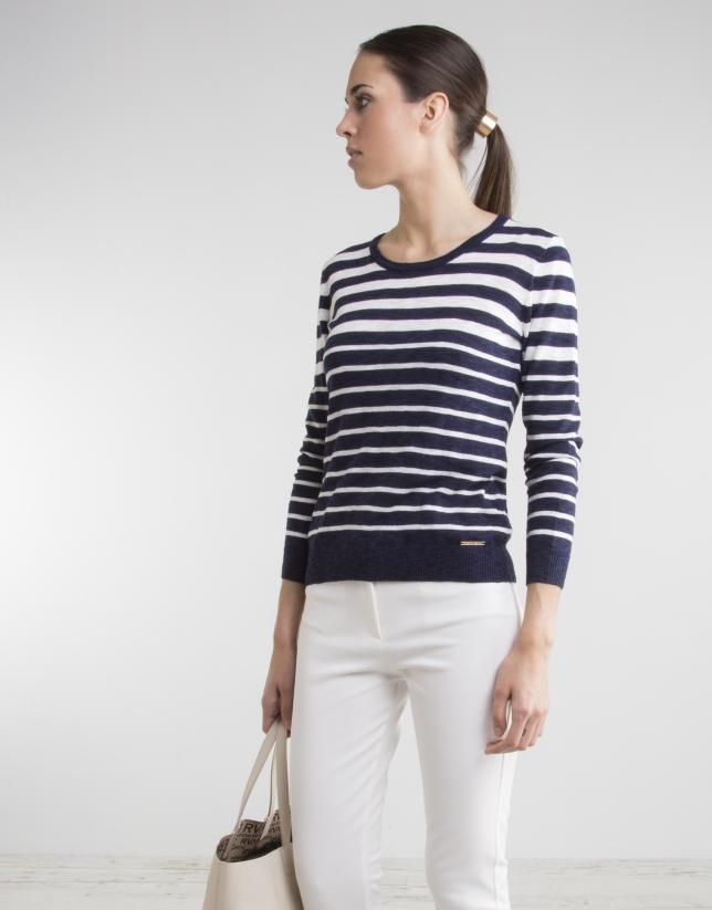 Pull à rayures bleu marine/blanc