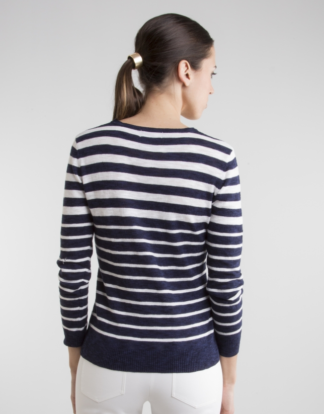 Navy blue / white striped sweater